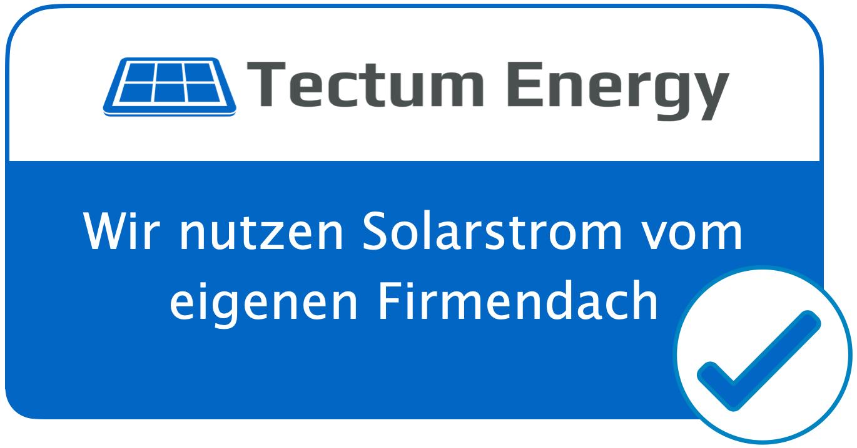 Nachhaltigkeits-Siegel Tectum Energy Solarstrom vom eigenen Firmendach